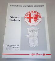 Schulungsunterlage Technical Information Alfa Romeo Dieseltechnik Stand 3/1996