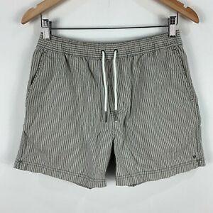 Industrie Mens Shorts Size Small Grey Striped Elastic Waist Drawstring 36.01