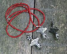 Gloved Hand Necklace & Earrings Sterling Silver Milagro Oaxaca Mexico Folk Art