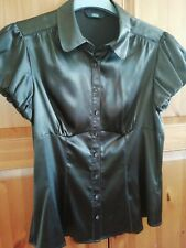 Ladies M&S Brown Silky style Blouse. Size 12