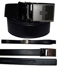 leather belt genuine leather dress casual track line ratchet men's black belt