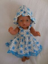 "BABY BORN 17"" DOLLS CLOTHES BLUE AND WHITE SUMMER OUTFIT"