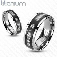 Solid Titanium Black IP Center Simulated Diamond Wedding Band Size 5-13