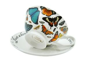 Butterfly Tea Cup and Saucer Set / Fine China / 210 ml (7 fl oz)