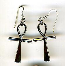 "925 Sterling Silver Large Ankh Drop / Dangle Earrings   Length 2"" inc hooks"