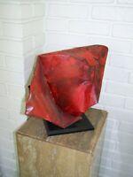 """ORIGINAL WORK 20th CENTURY MODERN ARTIST SCULPTURE """"Cardinal"""" FABRICATED METAL"""