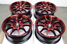 15 4x100 4x114.3 Red Wheels Fits Crx Jetta Golf Accord Prelude Lancer Civic Rims