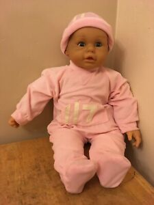 """Doll 24"""" Baby Girl Eyes open/close Soft Cloth Body Pink Pjs from LGRI Belgium"""