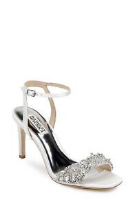 Badgley Mischka 'Rider' Crystal Evening/Wedding Shoes Size 7 (UK) White