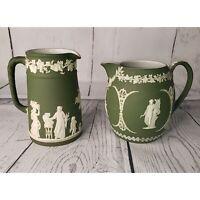 Antique WEDGWOOD Olive Green Jasperware Neoclassical Greek Cream Pitcher Jug Pot