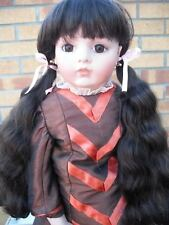 DARK BROWN DOLLS WIG IN BUNCHES CHOICE OF SIZES