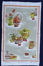 Vintage Retro Souvenir Unused COTTON Tea Towel KITCHEN Still Life High TEA Fruit