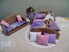 OAK BED/SETTEE & Bedding made for American Girl Mini Doll &  5-8 Inch Dolls #013