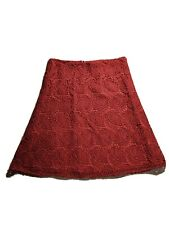 Ann Taylor Loft Eyelet Lace Burgundy Skirt Size 8