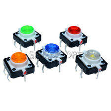 5PCS 5 Color 12X12X7.3 Tactile Push Button Switch Momentary Tact LED