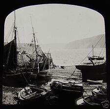 Glass Magic Lantern Slide CLOVELLY PIER DEVON C1890 L90 FISHING BOATS