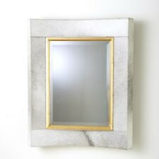 "36"" Tall Wall Mirror White Hair on Hide Leather Gold Leaf Wood Fillet Short"