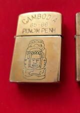Rare Briquet Zippo guerre du Viet Nam Cambodge CAMBODIA PHNOM PENH 1965 - 1966