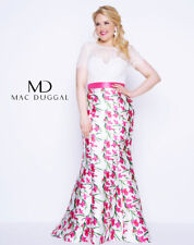65299fb1b3 MAC DUGGAL 77168F White Pink Sheer Lace Short Sleeve Floral Mermaid Gown  20W 2X