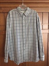 J.Crew Mens XL Button Down Long Sleeve Gray Tan Plaid Cotton Shirt