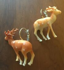 Christmas Earrings Deer Fawn Bambi Stag Plastic Kitsch Vintage Fancy Dress