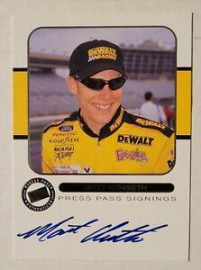 2001 Press Pass Matt Kenseth Blue Ink On Card Auto Autograph