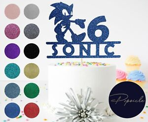 Personalised Birthday Sonic The Hedgehog Glitter Cake Topper