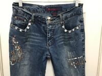Rosy Love's Size 11 / 12 Long Bling Bling Bold Look Blue Jeans