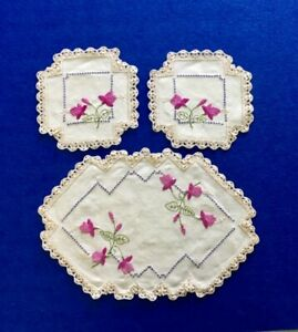 Vintage Hand Embroidered Crocheted Floral Duchess Set - 3 pieces