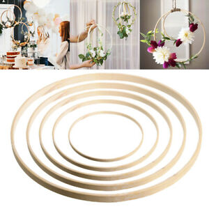 10Pcs Wooden Bamboo Dream Catcher Round Ring Hoop Crafts Making Home Decor