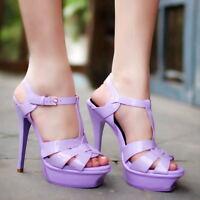 Women High Stiletto Heel Platform Sandal Open Toe Slingback Buckle Strappy Shoes
