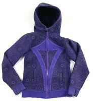 Ivivva Girls 10 Hoodie Remix Jacket Cotton Full Zip Black Purple Mandala Floral