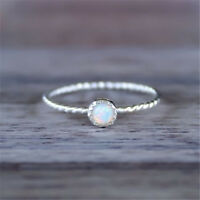 White Fire Opal CZ Simple Wedding Proposal Women Jewelry 925 Silver Ring Sz6-10