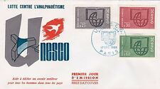 FRANCE 1966 FDC UNESCO  YT 36 A 38