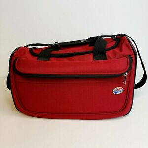 American Tourister Carry On Overnight Bag Duffel Bag Travel Bag Small Red Black