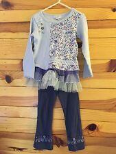 *NAARTJIE* Girls 2 Piece Purple Mesh Tiered Mixed Print Outfit Top Leggings 3-4