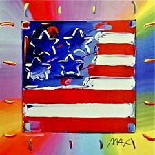 Flag with Heart III, Limited Edition Lithograph, Peter Max - SIGNED with COA
