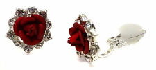 Vintage Rose Flower Clip-on Diamante Cute Girls Earrings  4 Colours