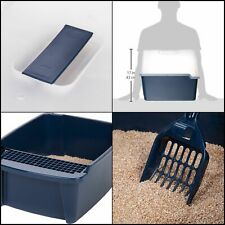 New listing Hooded Litter Box with Scoop Cat Box Grate Durable Blue Large Easy To Clean