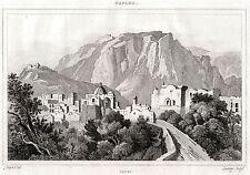 CAPRI. Golfo di Napoli. Regno delle Due Sicilie. ACCIAIO. Stampa Antica. 1838