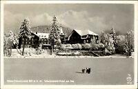 Titisee Schwarzwald Postkarte 1952 gelaufen Schwarzwald Hotel am See im Winter