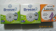 Bayer Breeze 2 Glood Glucose 100 Test Strips, Bonus 100 Lancets Exp: 04/25/2019