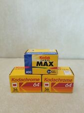 Lot of 3 Unopened Sealed  35mm Film Boxes Kodachrome 64(2), Kodak Gold Max (1).
