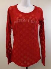 New Hilton Head Womens Size M Medium Red Long Sleeve Polka Dot Shirt