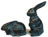 Terra Cotta Blue/Gold Glazed Pottery Set of Two Rabbits Bunnies