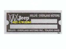 STAMPED JEEP Willys Overland  DATA PLATE SERIAL NUMBER ID TAG VIN