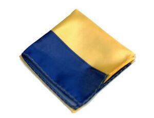 Umberto Algodon Napoli Men's Yellow Navy Bar Stripe Woven Pocket Square