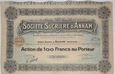 Société Sucrière D'ANNAM action de 100 Frs Saigon Indochine 1929 (15235)