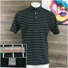 Peter Millar Summer Comfort Polo Shirt Mens Size L Black Striped Golf Rugby