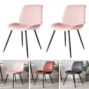 Set of 2 Velvet Dining Chairs Oyster Padded Seat Metal Legs Accent Chair Kitchen